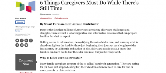 ElderCare Ready Featured on Next Avenue & Forbes.com: 6 Things Caregivers Must Do While There is Still Time